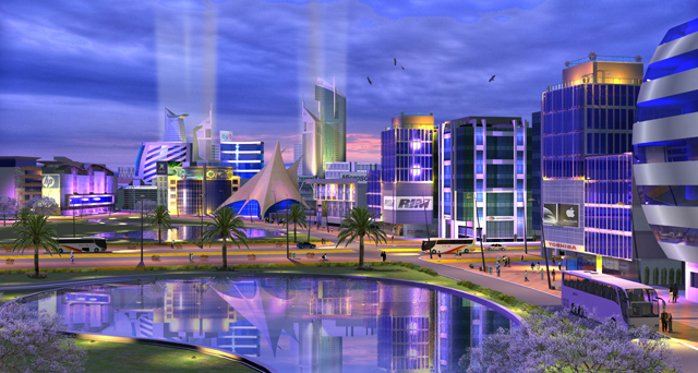 BPO Technology Park at night 3D visualisation